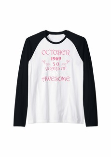 Born October 1969 Awesome 50th Birthday Gifts 50 Years Bday Raglan Baseball Tee