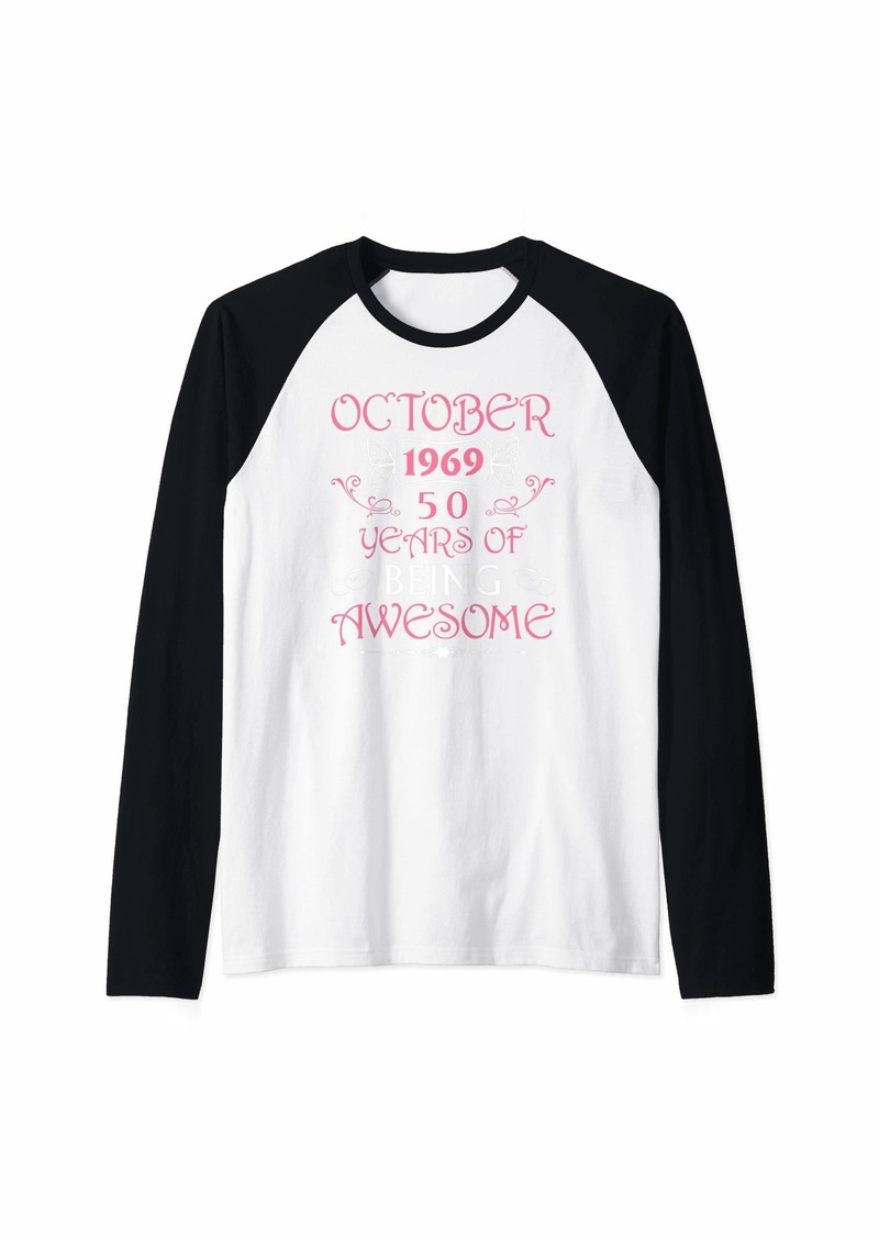 Born October 1969 Awesome 50th Birthday Gifts 50 Years Bday Raglan Baseball Tee