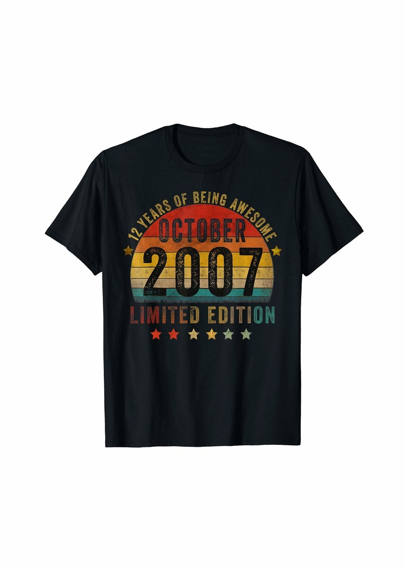 Born October 2007 Limited Edition Bday Gifts 12th Birthday T-Shirt