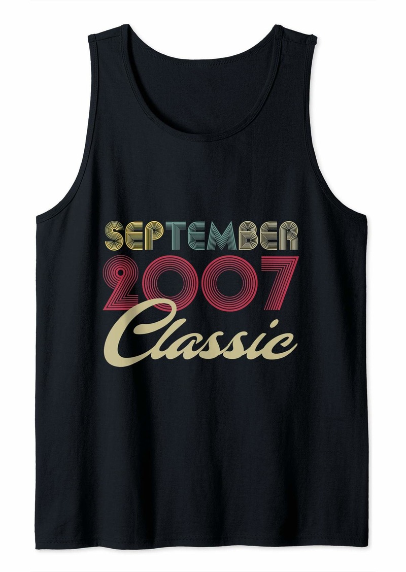 Born Classic September 2007 Bday Men Women Gifts 12th Birthday Tank Top