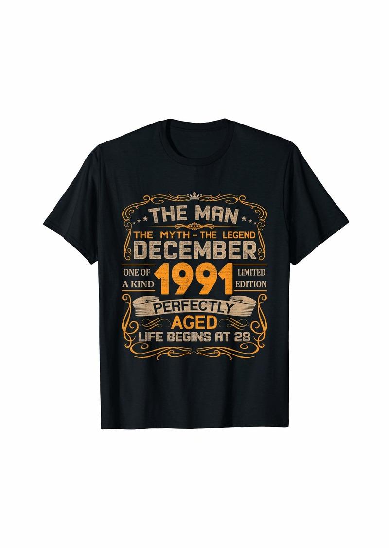 Born December 1991 Man Myth Legend 28th Birthday Gifts 28 Yrs Old T-Shirt