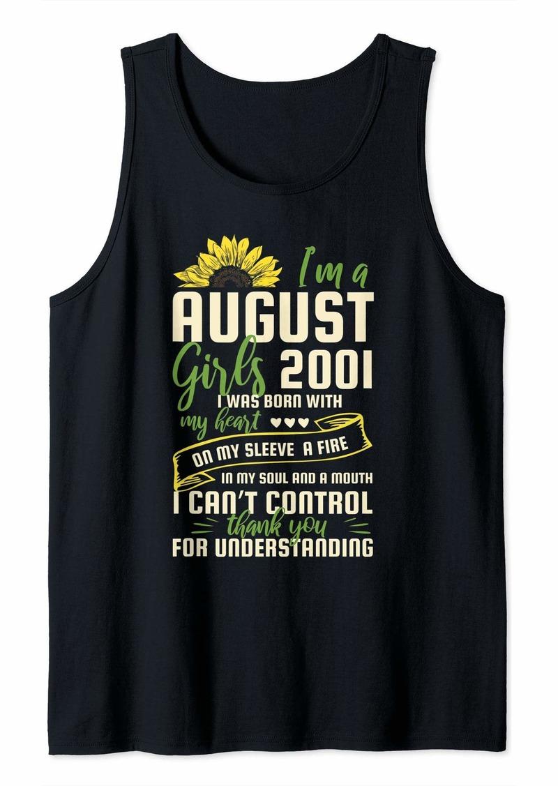 Born I'm A August Girl 2001 18th Birthday Sunflower Tank Top