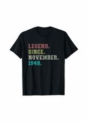 Born Legend November 1949 Flowers 70th Birthday 70 Years Old T-Shirt