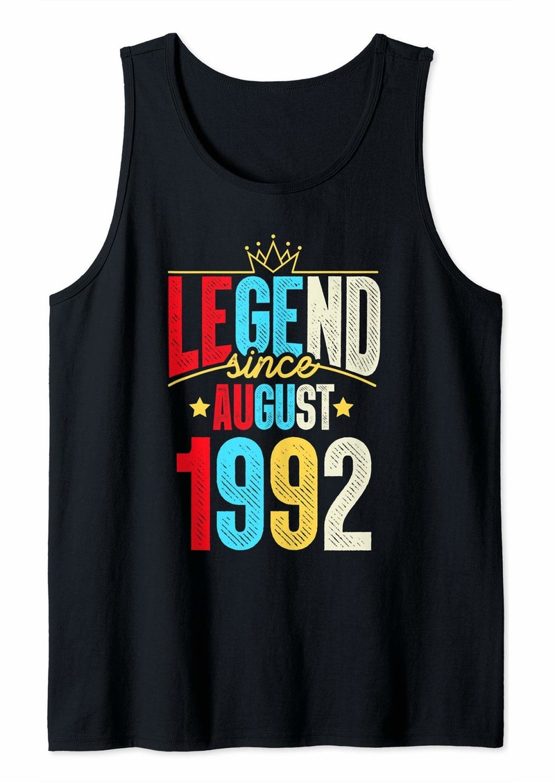 Born Legend Since August 1992 Bday Gifts 27th Birthday Tank Top
