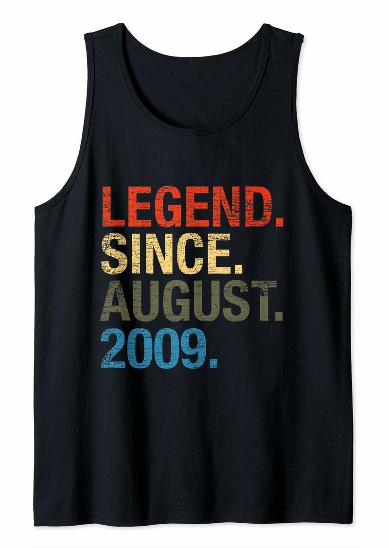 Born Legend Since August 2009 Boys Girls Bday Gifts 10th Birthday Tank Top