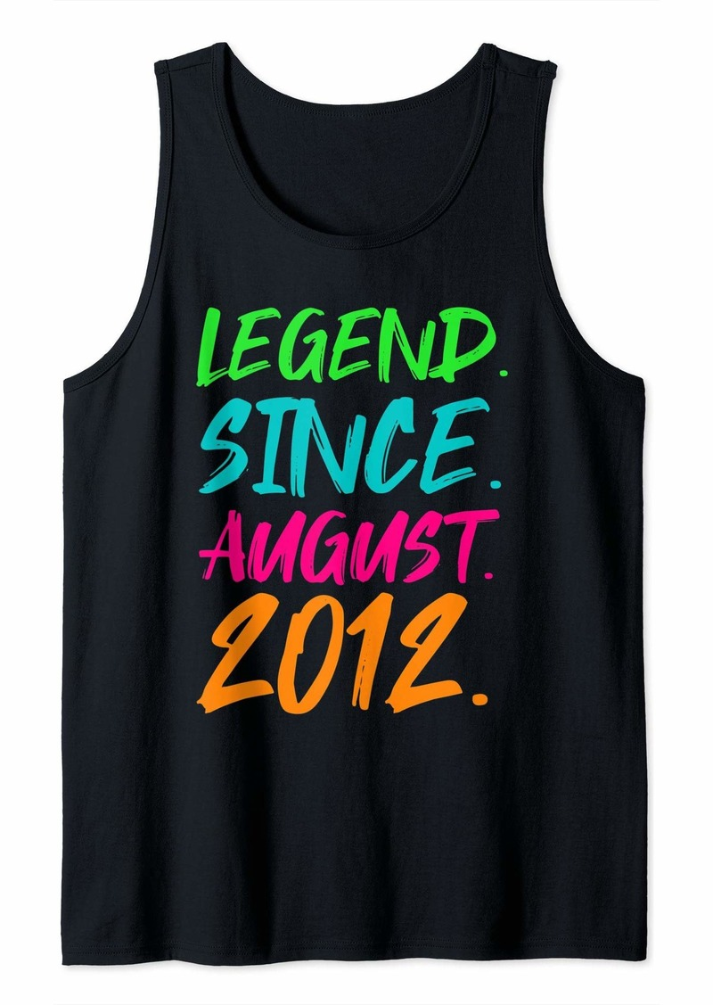 Born Legend Since August 2012 Boys Girls Bday Gifts 7th Birthday Tank Top