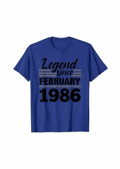 Born Legend Since February 1986 - 34 Year Old Gift 34th Birthday T-Shirt