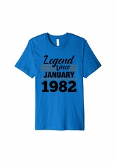 Born Legend Since January 1982 - 38 Year Old Gift 38th Birthday Premium T-Shirt