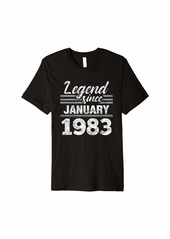 Born Legend Since January 1983 - 37 Year Old Gift 37th Birthday Premium T-Shirt