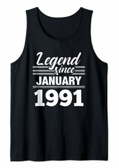 Born Legend Since January 1991 - 29 Year Old Gift 29th Birthday Tank Top