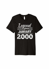 Born Legend Since January 2000 - 20 Year Old Gift 20th Birthday Premium T-Shirt