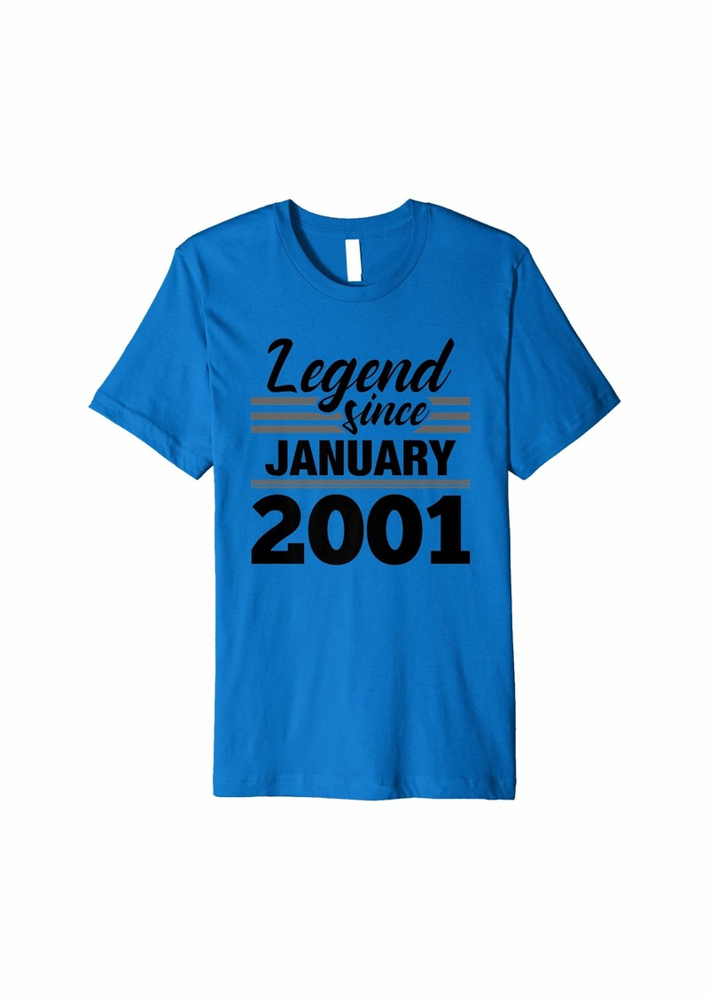 Born Legend Since January 2001 - 19 Year Old Gift 19th Birthday Premium T-Shirt