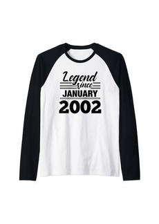 Born Legend Since January 2002 - 18 Year Old Gift 18th Birthday Raglan Baseball Tee