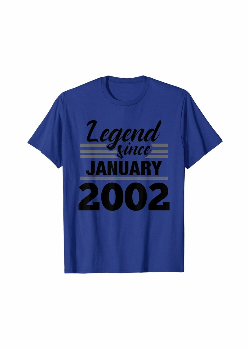 Born Legend Since January 2002 - 18 Year Old Gift 18th Birthday T-Shirt