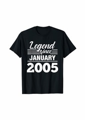 Born Legend Since January 2005 - 15 Year Old Gift 15th Birthday T-Shirt