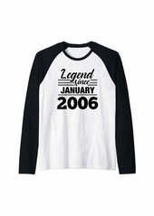 Born Legend Since January 2006 - 14 Year Old Gift 14th Birthday Raglan Baseball Tee
