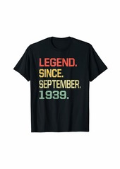 Born Legend Since September 1939 T-Shirt- 80 Years Old Shirt Gift T-Shirt