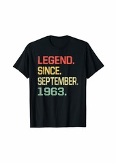 Born Legend Since September 1963 T-Shirt- 56 Years Old Shirt Gift T-Shirt