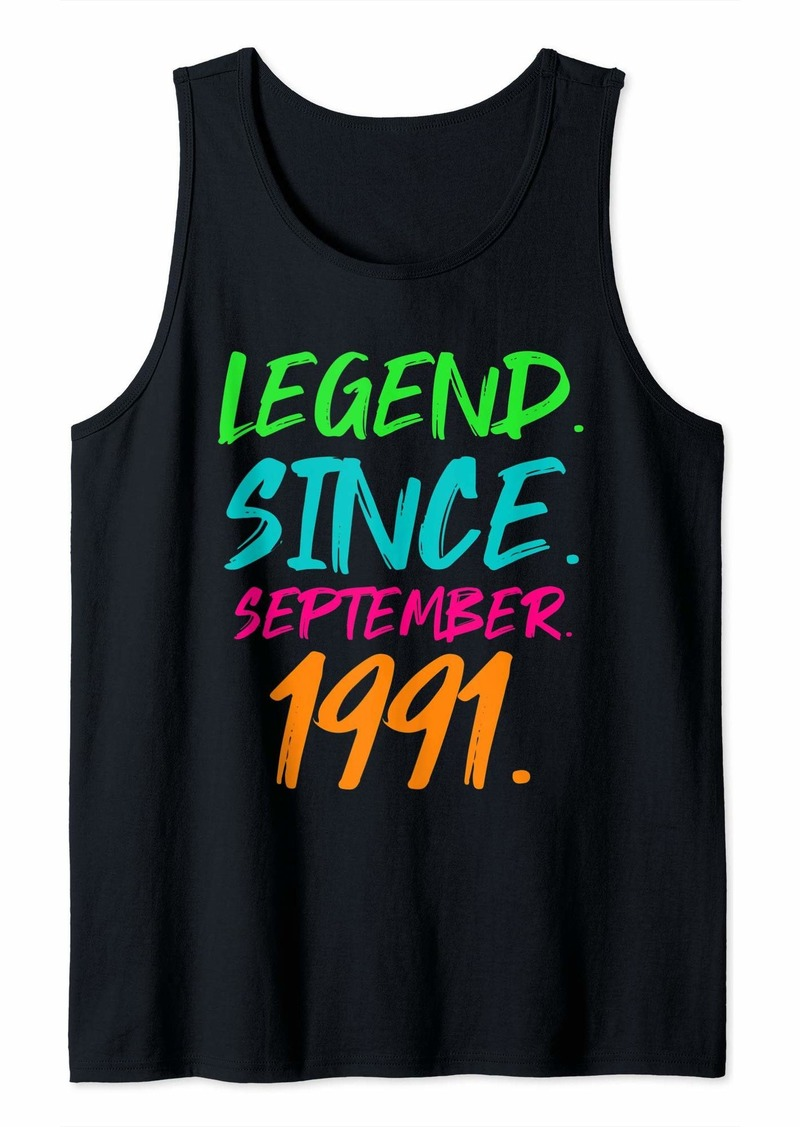Born Legend Since September 1991 Bday Gifts 28th Birthday Tank Top