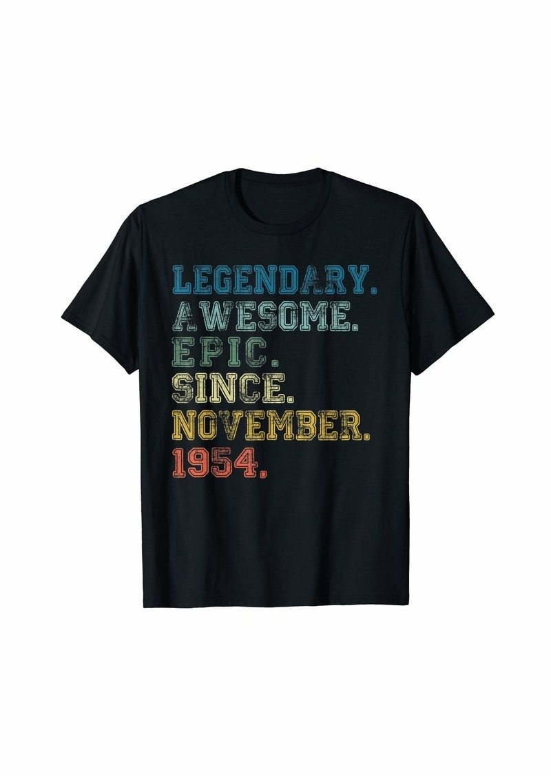 Born Legendary Awesome Epic Since November 1954 65 Years Old T-Shirt