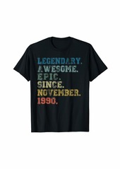 Born Legendary Awesome Epic Since November 1990 29 Years Old T-Shirt