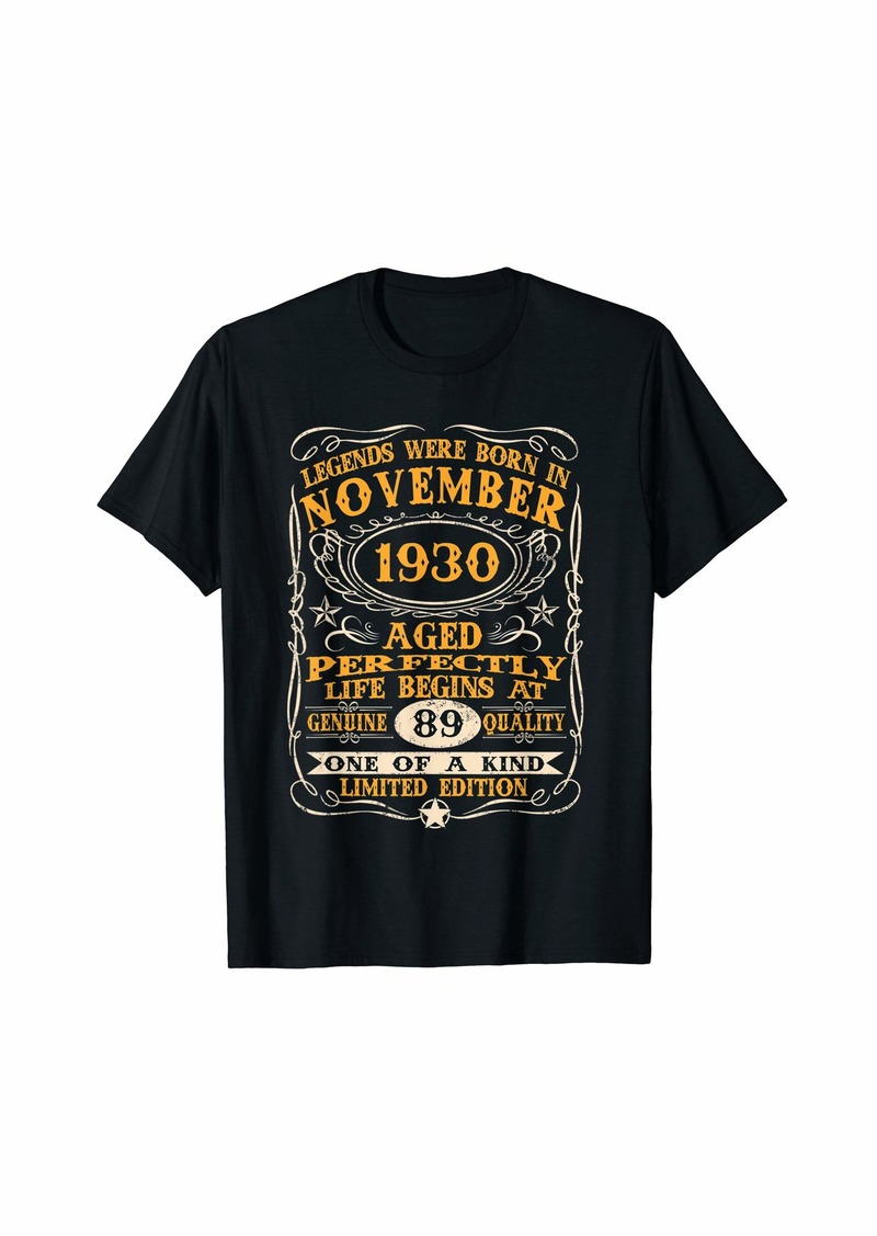 Legends Were Born In November 1930 89Th Birthday Gifts T-Sh T-Shirt
