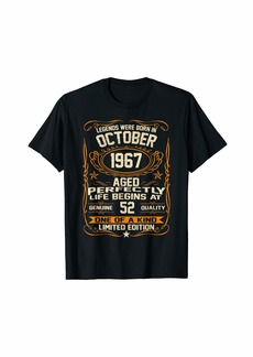 Legends Were Born In October 1967 Shirt 52nd Birthday Gift T-Shirt