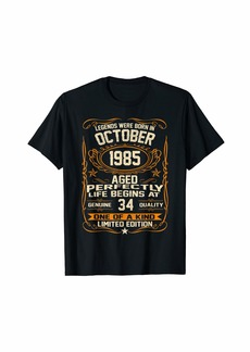 Legends Were Born In October 1985 Shirt 34th Birthday Gift T-Shirt