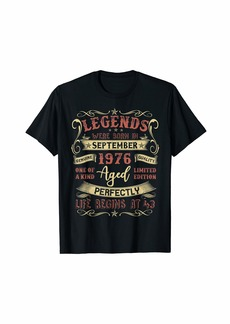 Legends Were Born In September 1976 43rd Birthday Gift Tee