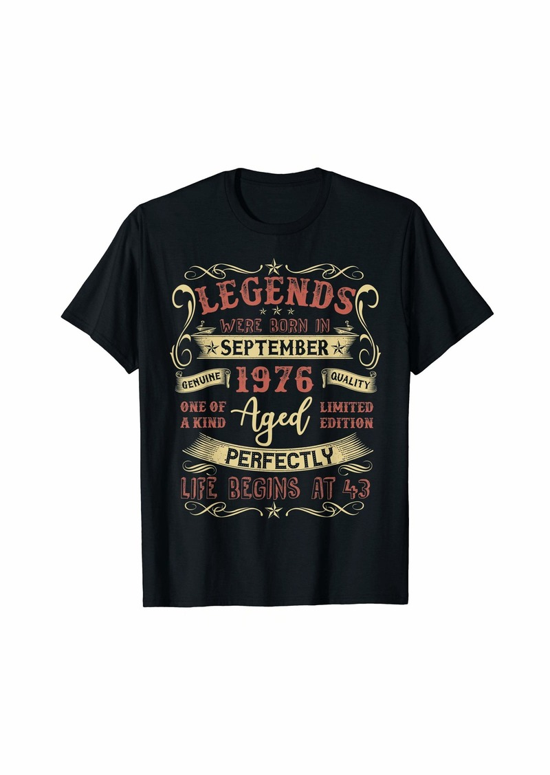 Legends Were Born In September 1976 43rd Birthday Gift Tee