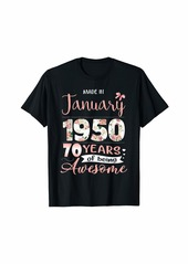 Born Made In January 1950 Floral 70th Birthday Gift Women T-Shirt