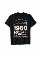 Born Made In January 1960 Floral 60th Birthday Gift Women T-Shirt
