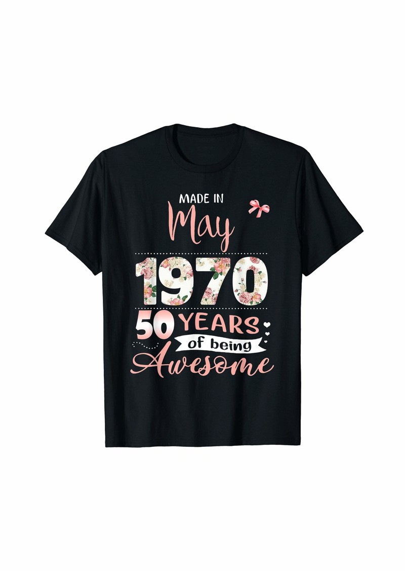 Born Made In May 1970 Floral 50th Birthday Gift Women T-Shirt