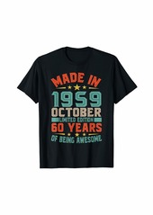 Born Made In October 1959 Bday Gifts 60th Birthday T-Shirt