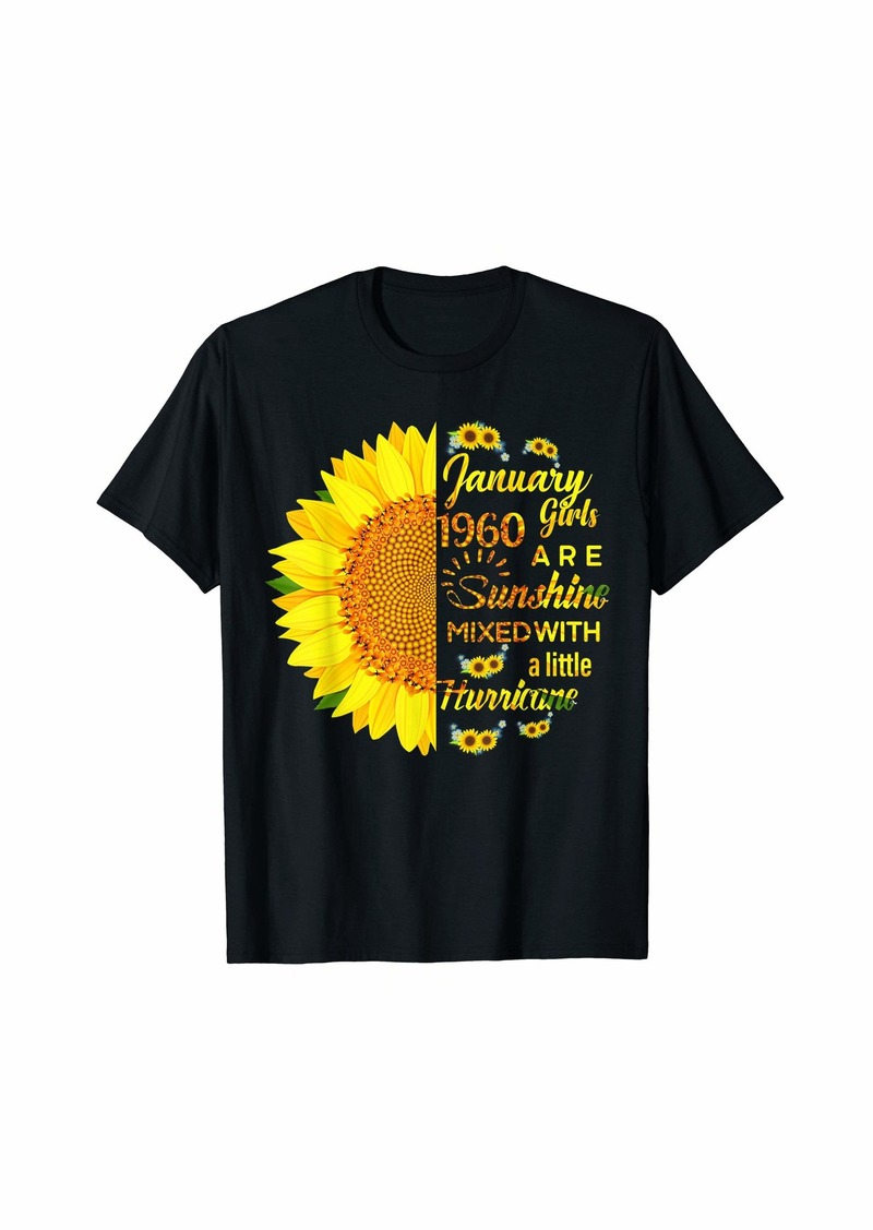 Born Mens Funny January 1960 Girls Sunshine-Hurricane 60th Birthday T-Shirt