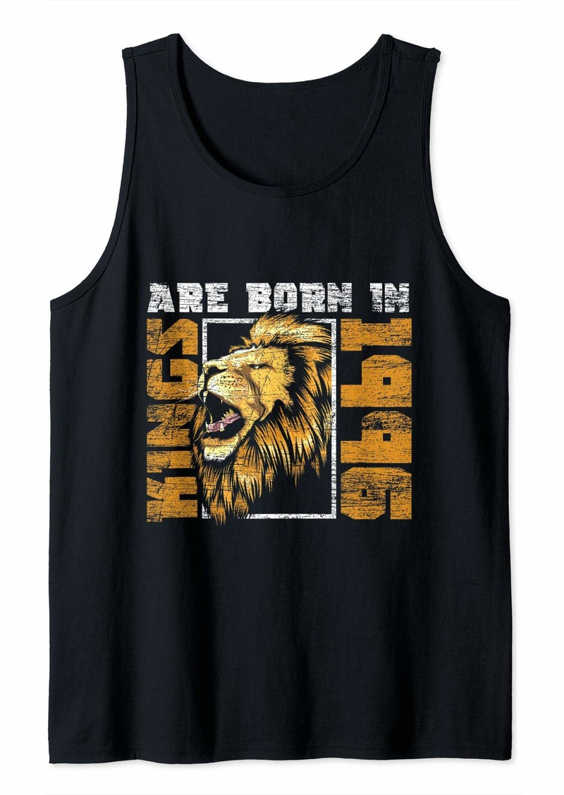 Mens Kings Are Born In 1996 Lion Bday Gifts 23rd Birthday Tank Top