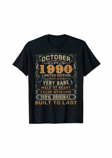 Born October 1990 Shirt 29 Yrs Old 29th Bday Gift Him Her T-Shirt
