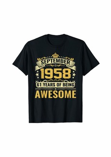 Born September 1958 T-Shirt 61st Bday 61 Yrs Old Gift For Him Her