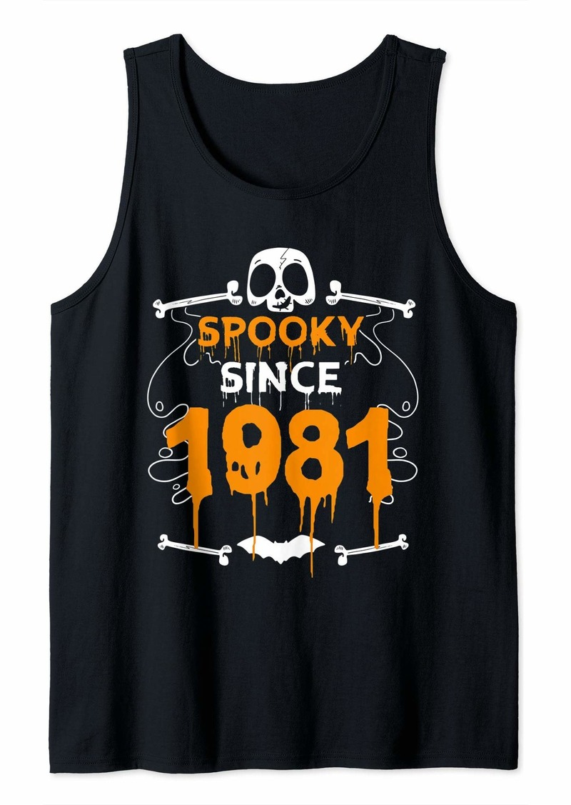 Born Spooky Since 1981 Halloween Bday Gifts 38th Birthday Tank Top