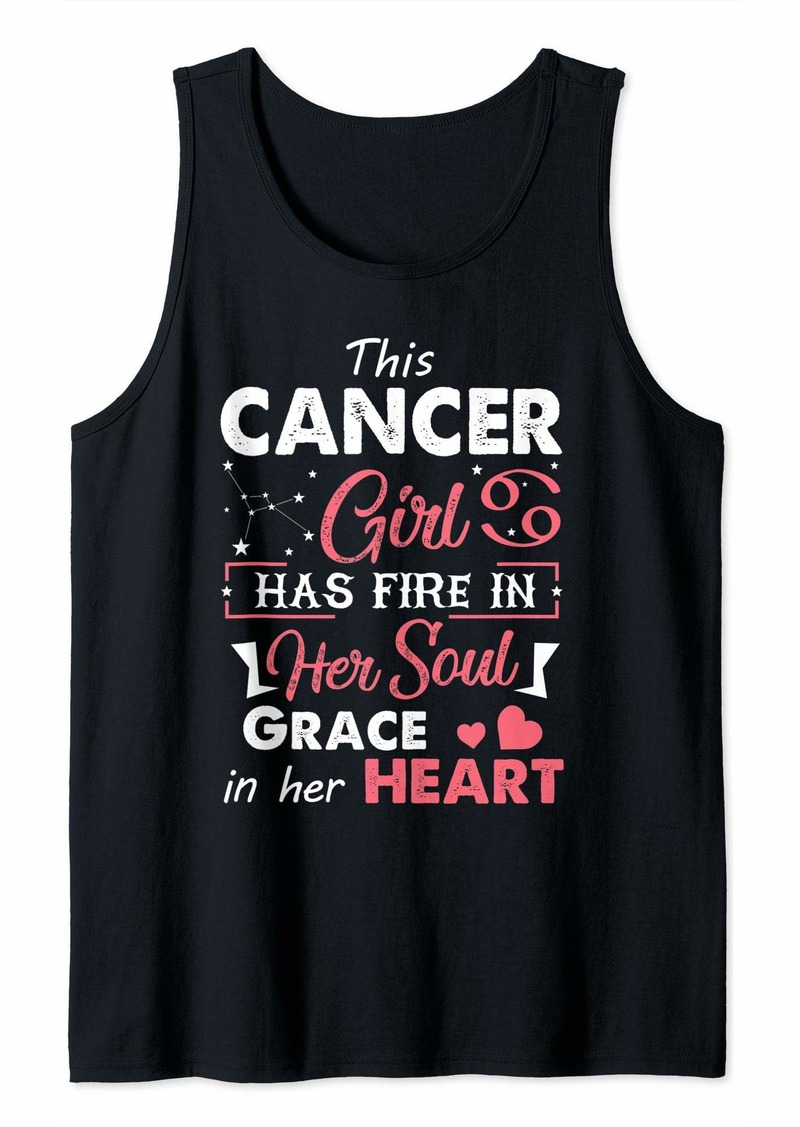 Born This Cancer Girl Has Fire In Her Soul Grace In Her Heart Tank Top