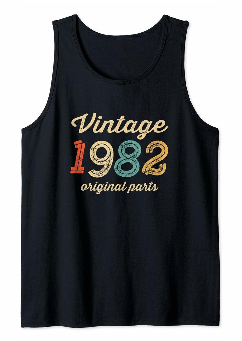 Born Vintage 1982 Original Parts Birthday Italic Dark Tank Top