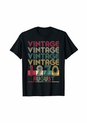 Born Vintage August 1970 Retro Style Birthday Gift Men Women T-Shirt