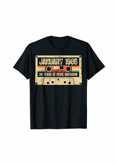 Born Vintage January 1986 34th Birthday Gift Retro Cassette T-Shirt