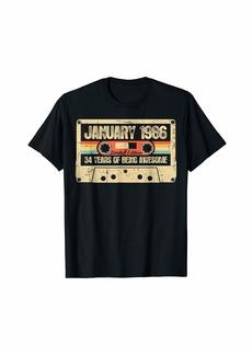 Born Vintage January 1986 34th Birthday Gift Retro Cassette T-Shirt