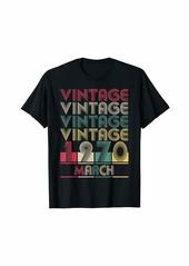 Born Vintage March 1970 Retro Style Birthday Gift Men Women T-Shirt