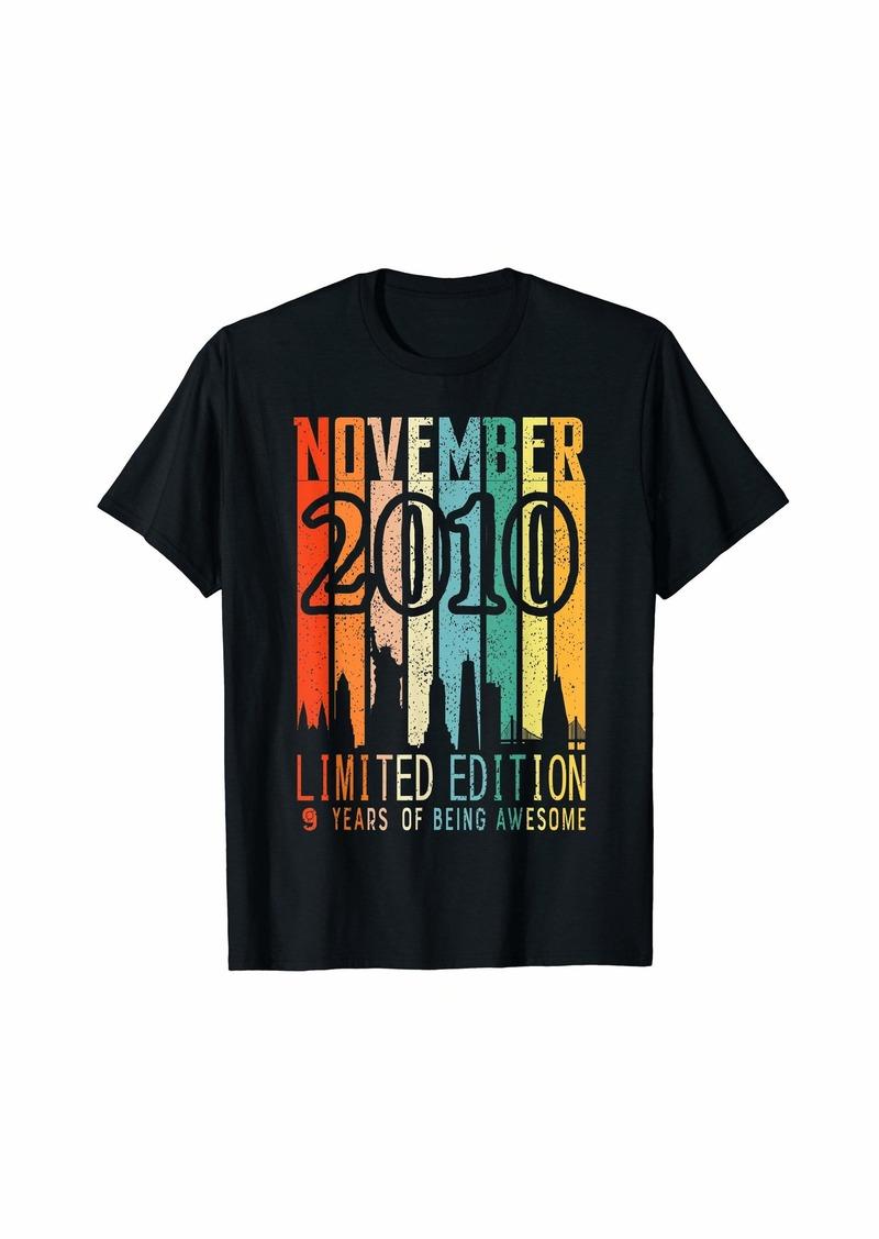 Born Vintage November 2010 Birthday9 Years Old Birthday T-Shirt