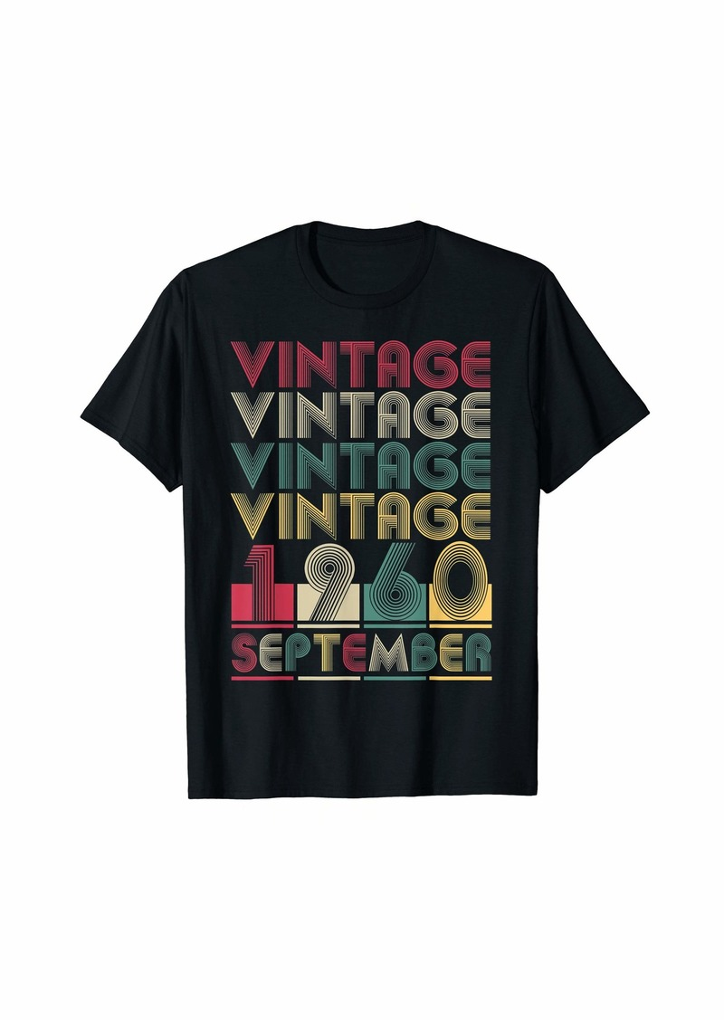Born Vintage September 1960 Retro Style Birthday Gift Men Women T-Shirt