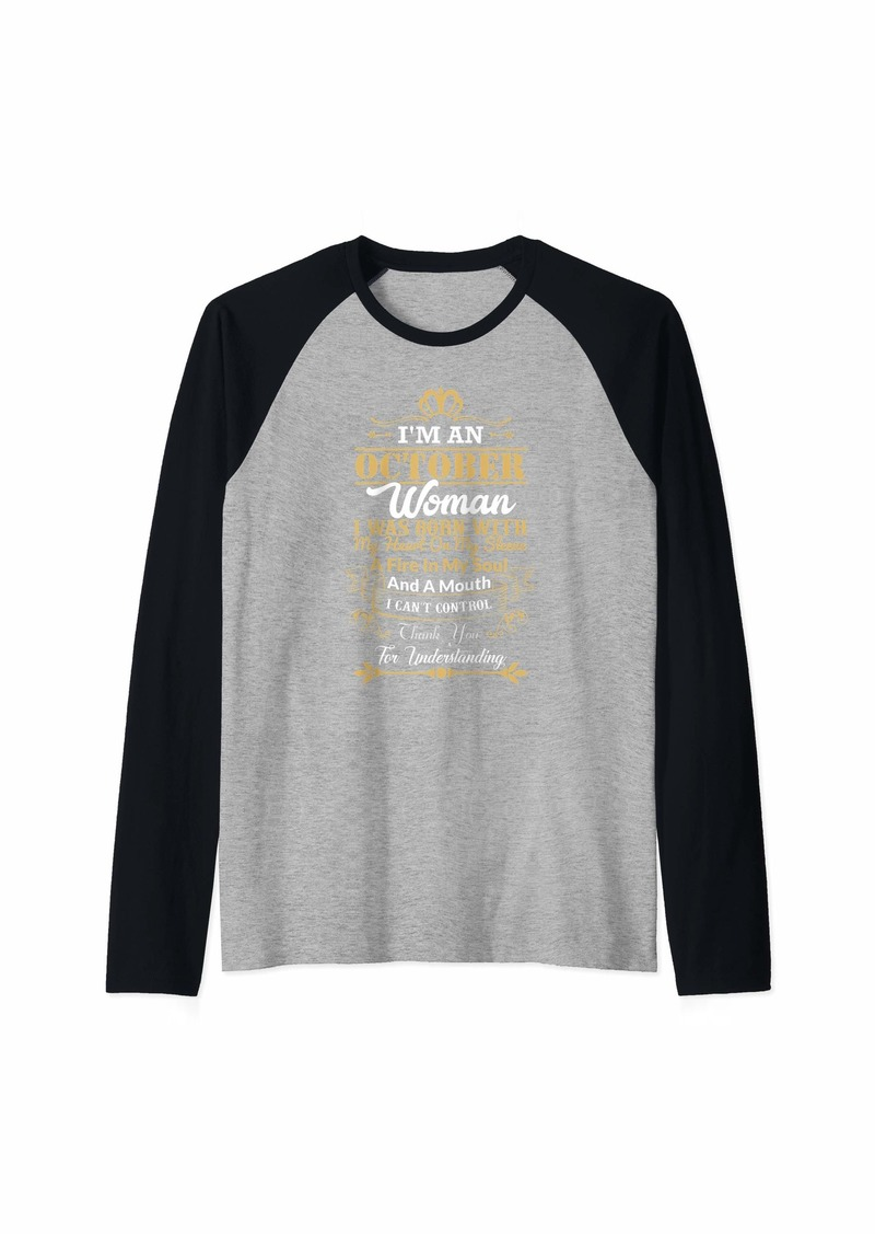 Woman Born In October Birthday Gift Shirts Raglan Baseball Tee
