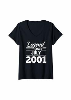 Born Womens 18th Birthday Gift Legend Since July 2001 V-Neck T-Shirt