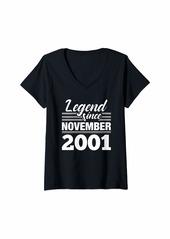 Born Womens 18th Birthday Gift Legend Since November 2001 V-Neck T-Shirt